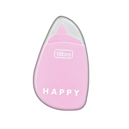 Corretivo em fita Happy - 5mm x 6m - Rosa pastel - Tilibra