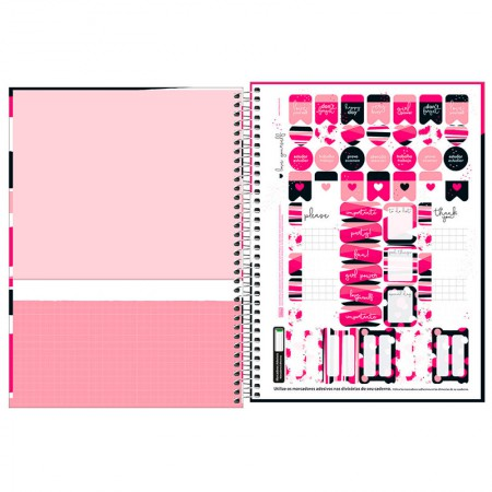 Caderno espiral capa dura universitário 1x1 - 80 folhas - Love Pink - Capa 1 - Tilibra
