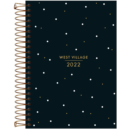 Agenda espiral diária West Village 2021 - M6 - Xadrez - Tilibra