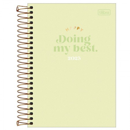 Agenda espiral diária Happy 2021 Rosa pastel - Tilibra