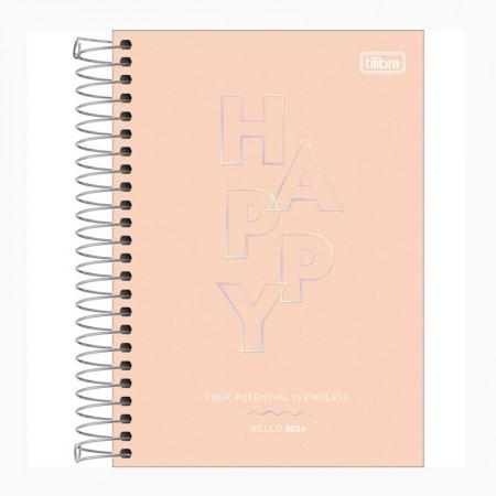 Agenda espiral diária Happy 2022 Coral pastel - Tilibra