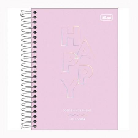 Agenda espiral diária Happy 2022 Lilás pastel - Tilibra