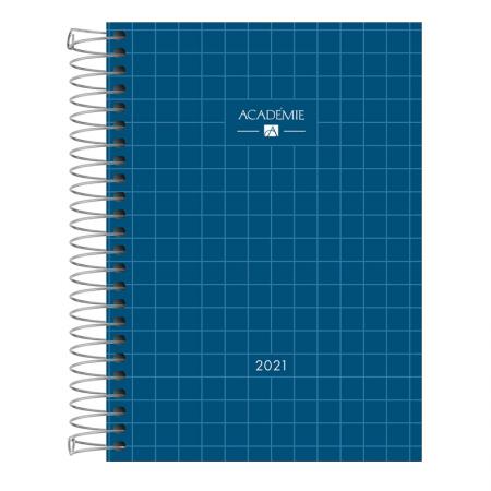 Agenda espiral diária Academie Feminina 2021 -  Azul marinho - Tilibra