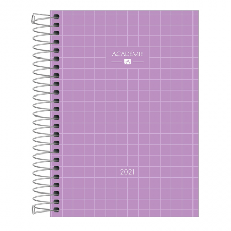 Agenda espiral diária Academie Feminina 2021 - Lilás - Tilibra