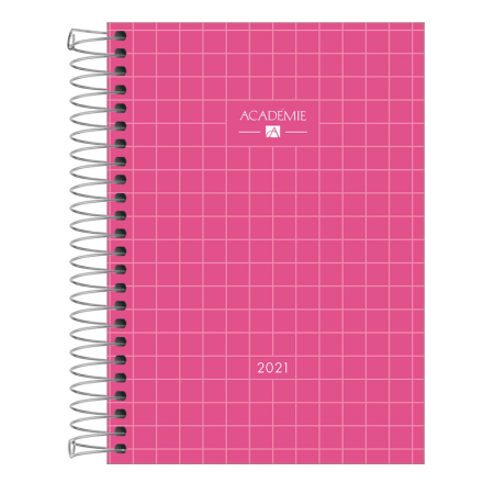 Agenda espiral diária Academie Feminina 2021 - Rosa - Tilibra