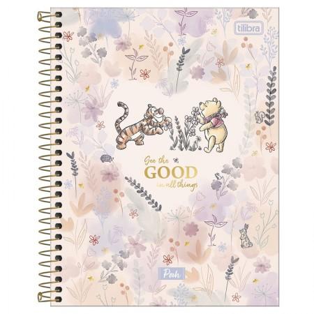 Caderno colegial capa dura 10x1 - 160 folhas - Pooh - Azul - Tilibra