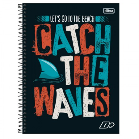 Caderno espiral capa dura universitário 10x1 - 200 folhas - D Mais - Catch the Waves - Tilibra