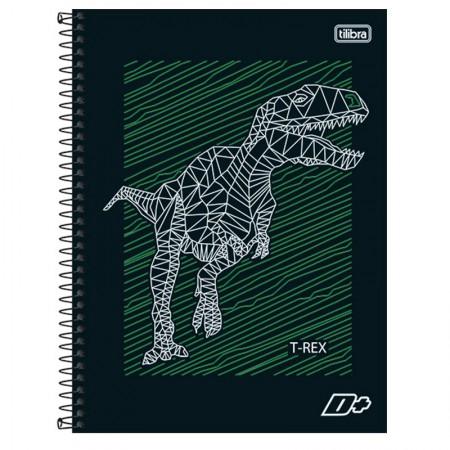 Caderno espiral capa dura universitário 10x1 - 200 folhas - D Mais - Dinossauro - Tilibra