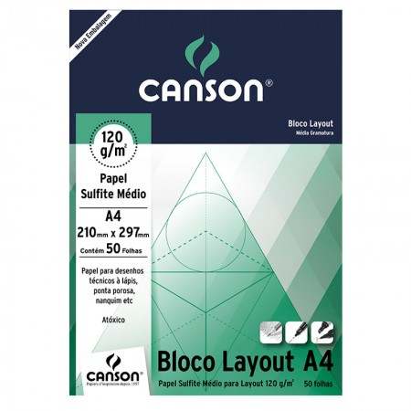 Bloco layout liso A4 120g - com 50 folhas - Canson