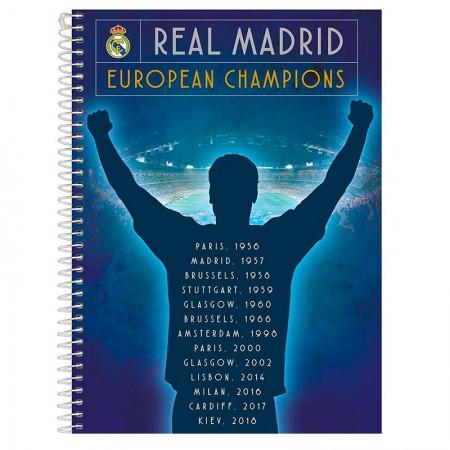 Caderno espiral capa dura universitário 10x1 - 200 folhas - Real Madrid - Capa 1 - Foroni