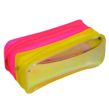 Estojo escolar duplo com ziper - E216 - Neon Holográfico 2 - Dac
