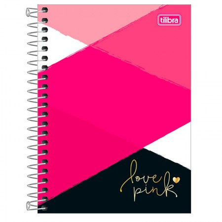 Caderneta espiral capa dura 1/8 - 80 folhas - Love Pink - Capa 4 - Tilibra