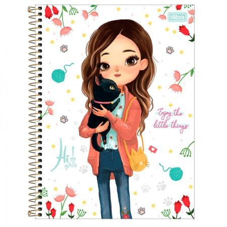 Caderno espiral capa dura universitário 1x1 - 80 folhas - Hi! Girls - Enjoy The Little Things - Tilibra