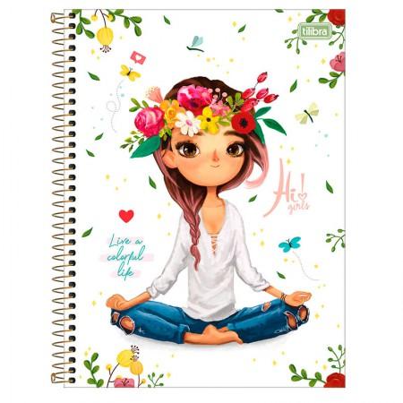 Caderno espiral capa dura universitário 1x1 - 80 folhas - Hi! Girls - Live a Colorful Life - Tilibra