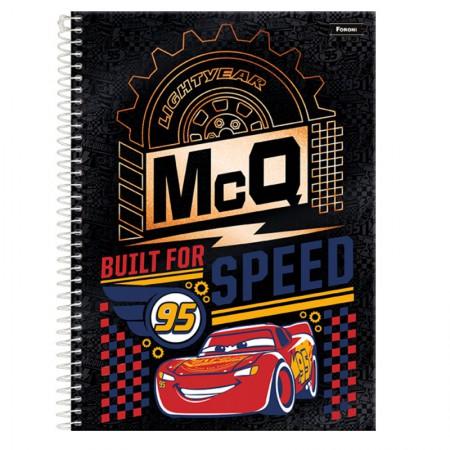 Caderno espiral capa dura universitário 1x1 - 96 folhas - Carros - Built For Speed - Foroni
