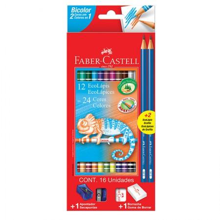 Lápis de cor 24 cores com 12 lápis bicolor - 120612+2N - Faber-Castell