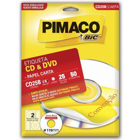 Etiqueta inkjet/laser CDPPLY CD25B - com 25 folhas - Pimaco