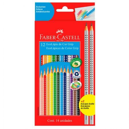 Lápis de cor Color Grip 12 cores + 2 grafite - 121012+2 - Faber-Castell