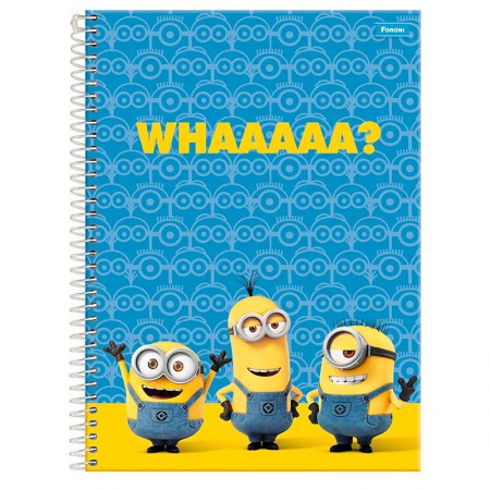 Caderno espiral capa dura universitário 1x1 - 96 folhas - Minions - Capa 2 - Foroni