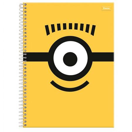 Caderno espiral capa dura universitário 1x1 - 96 folhas - Minions - Capa 3 - Foroni