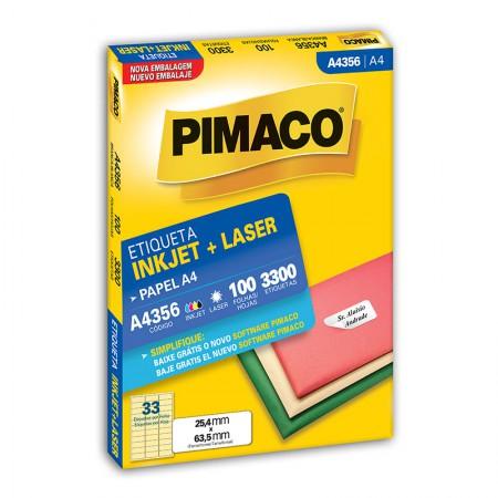 Etiqueta inkjet/laser A4356 - com 100 folhas - Pimaco