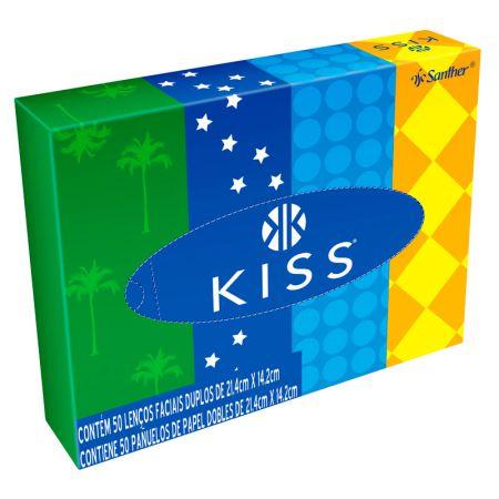 Lenço de papel facial com folha dupla 14,2x21,4 - com 50 unidades - Kiss
