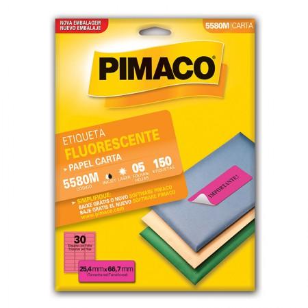 Etiqueta fluorescente 5580M - magenta - com 5 folhas - Pimaco