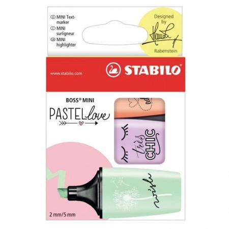 Pincel marca texto mini Boss Pastel Love - Estojo com 3 cores - 07/03-47 -  Stabilo