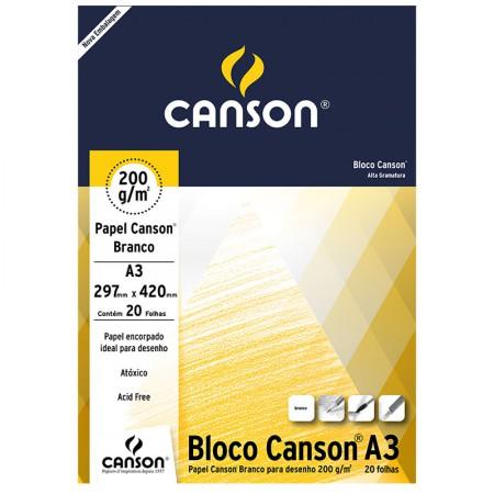 Bloco desenho branco A3 200g - com 20 folhas - Canson