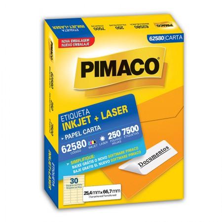 Etiqueta inkjet/laser carta 62580 - com 250 folhas - Pimaco