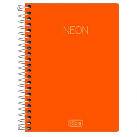 Caderneta capa dura espiral 1/8 - Neon Laranja - 80 folhas - Tilibra