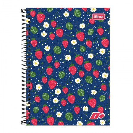 Caderno espiral capa dura 1/4 - 96 folhas - D Mais - Morango - Tilibra