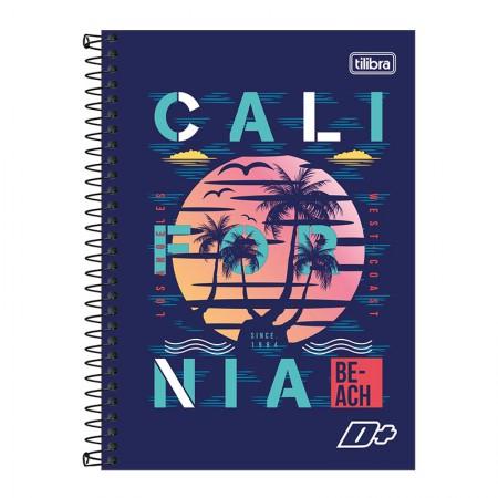 Caderno espiral capa dura 1/4 - 96 folhas - D Mais - California - Tilibra