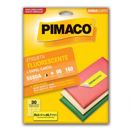 Etiqueta fluorescente 5580A - amarelo - com 5 folhas - Pimaco