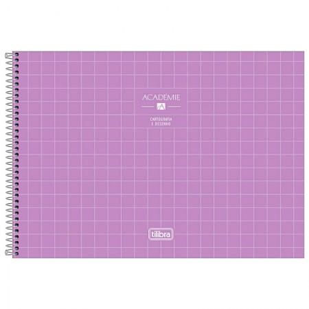 Caderno espiral capa dura cartografia - 80 folhas - Academie - Lilás - Tilibra