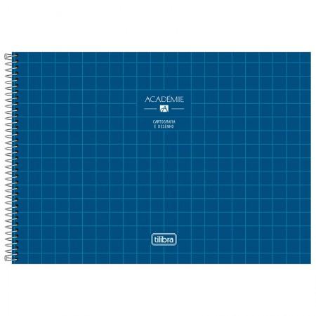 Caderno espiral capa dura cartografia - 80 folhas - Academie - Azul marinho - Tilibra