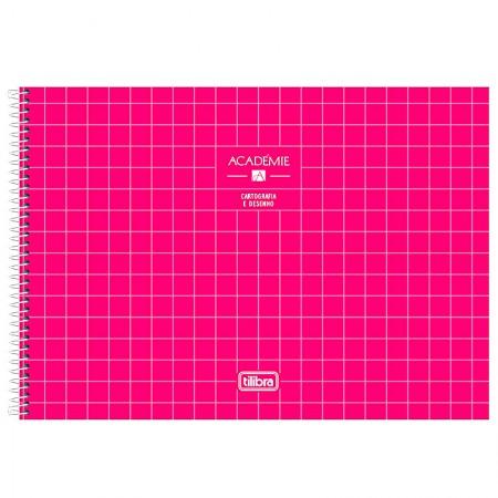 Caderno espiral capa dura cartografia - 80 folhas - Academie - Rosa - Tilibra