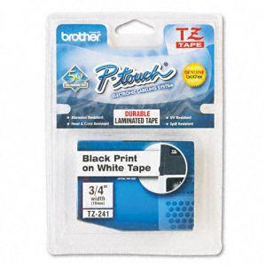 Fita para rotulador 18mm laminada - TZ241 - branca escrita em preto - Brother