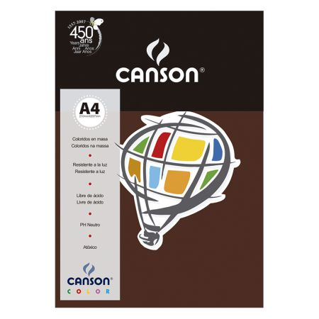 Papel Color Vivaldi A4 120g chocolate - com 15 folhas - Canson