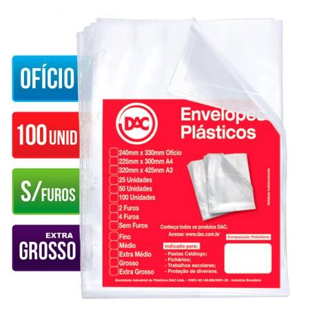 Envelope plástico ofício 0.20 - sem furo - 5087 - pacote com 100 unidades - Dac