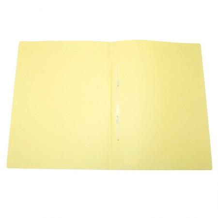 Pasta com grampo ofício plástica - Linho Serena - Amarelo pastel - Dello