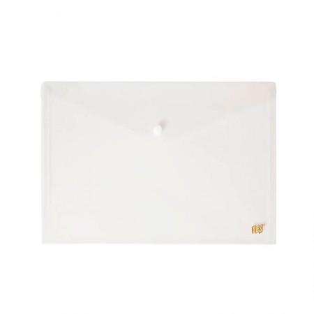Envelope plástico com botão A4 - DB803A - Cristal - Yes