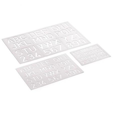 Kit normógrafo - letras e numeros vazados - Acrinil