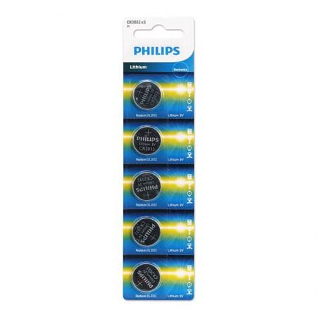 Bateria litio 3 volts - com 5 unidades - CR2032 - Philips