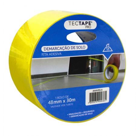 Fita para demarcação de solo 48x30 - amarelo - Tectape