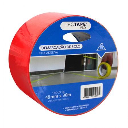 Fita para demarcação de solo 48x30 - vermelha - Tectape