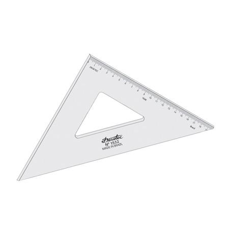 Esquadro acrílico 32cm x 45 graus com escala 1532 - Trident