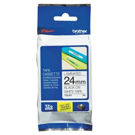Fita para rotulador 24mm laminada - TZ251 - branca escrita em preto - Brother