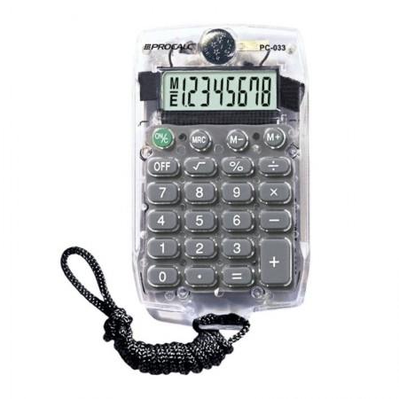 Calculadora de bolso 8 digitos PC033 com cordão - cristal - Procalc