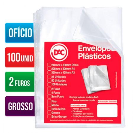 Envelope plástico ofício 0.15 2 furos 5074 Pct 100 unid - Dac